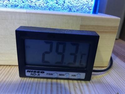 29.3度をさす水温計