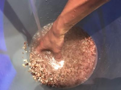砂利を洗っている様子