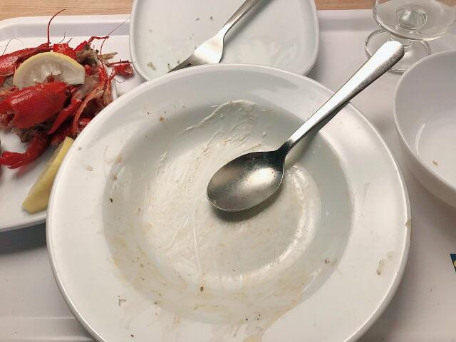 ザリガニ料理完食!