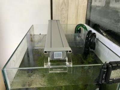 コトブキ フラットLED400を45cm水槽に設置した様子(横から)