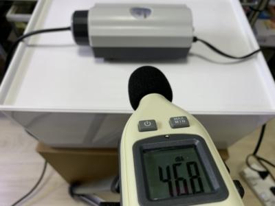 水作のエアーポンプ「水心 2S」流量小にしたときの音を測定